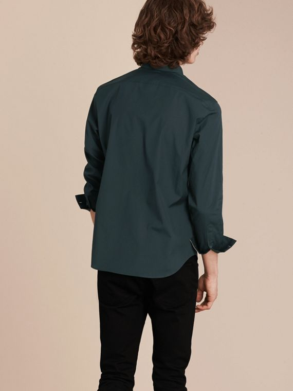 Check Detail Stretch Cotton Poplin Shirt in Dark Teal Green - cell image 2