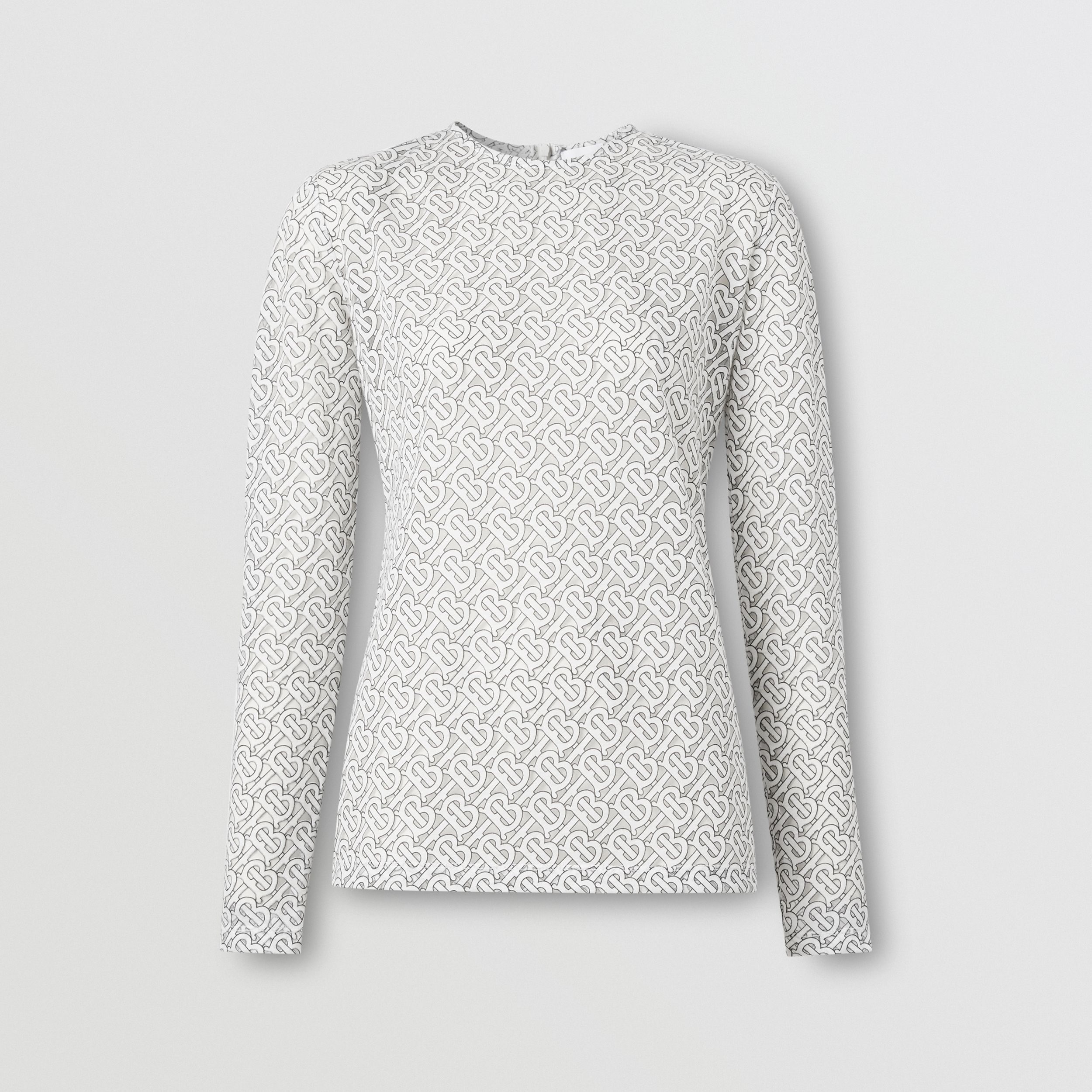 Long-sleeve Monogram Devoré Top in Off-white - Women | Burberry Australia - 4