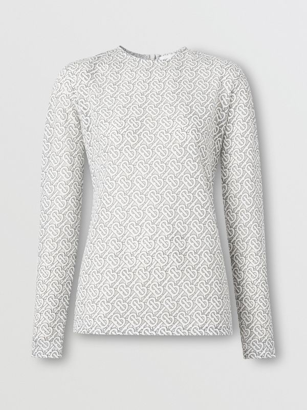 Long-sleeve Monogram Devoré Top in Off-white - Women | Burberry - cell image 3