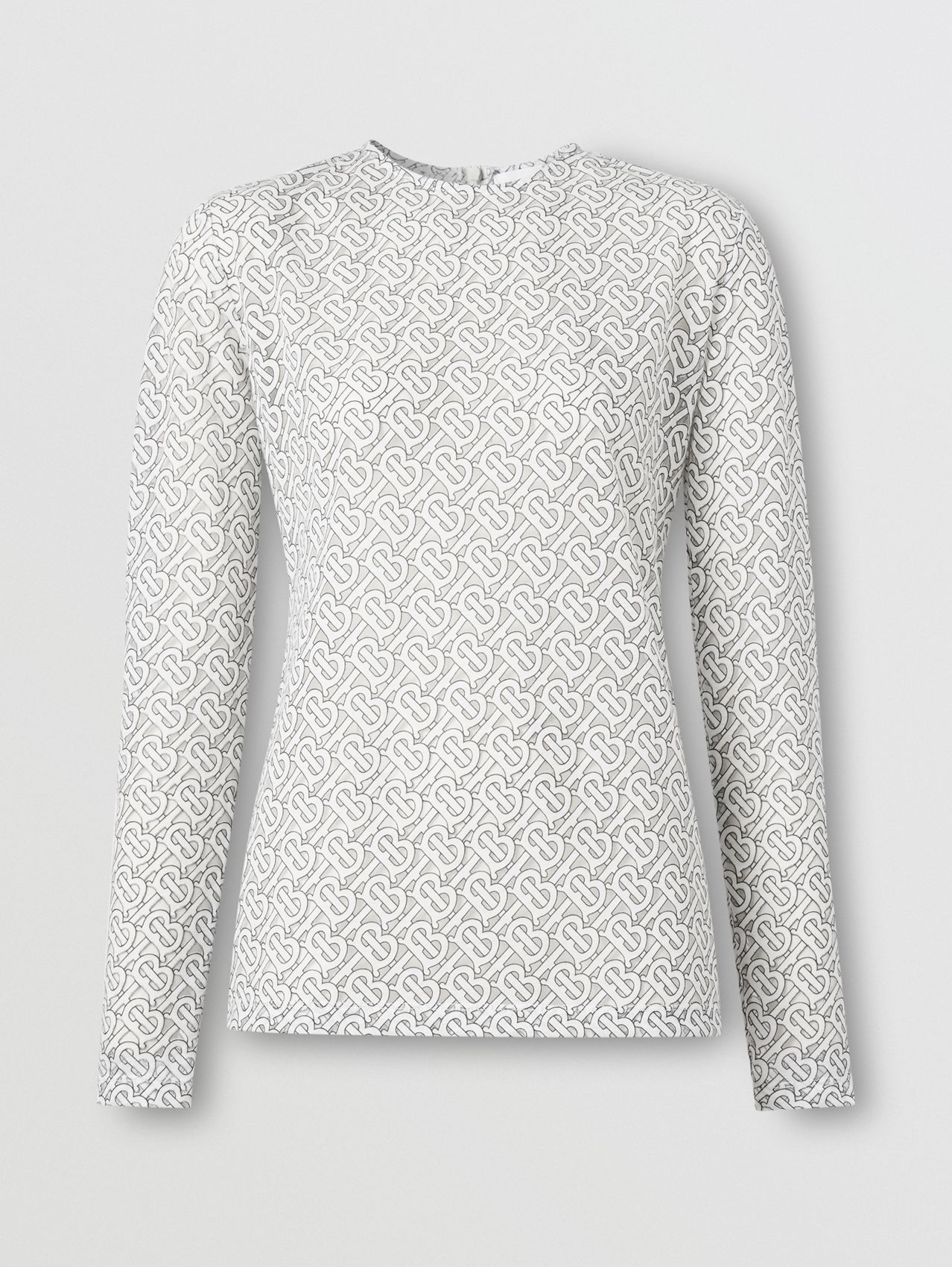 Long-sleeve Monogram Devoré Top in Off-white