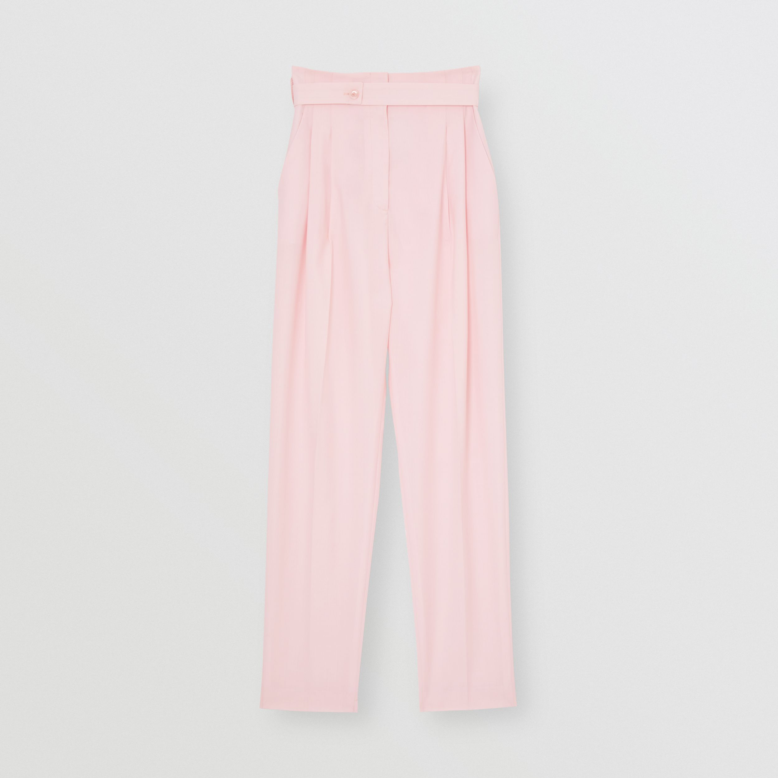 Cut-out Detail Wool Canvas Tailored Trousers in Pastel Pink - Women | Burberry - 1