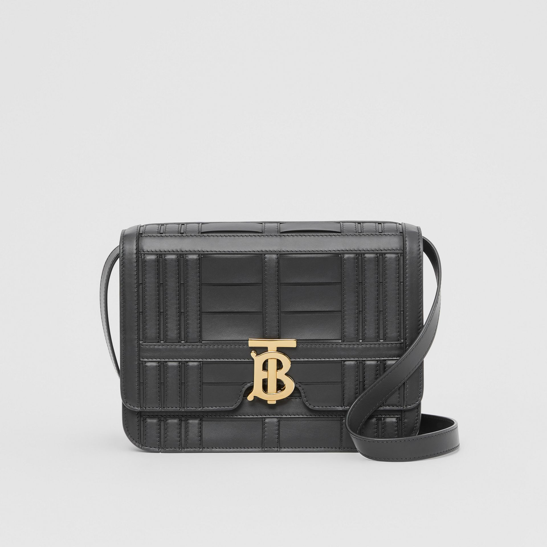 Medium Woven Leather TB Bag in Black - Women | Burberry Hong Kong S.A.R. - gallery image 0