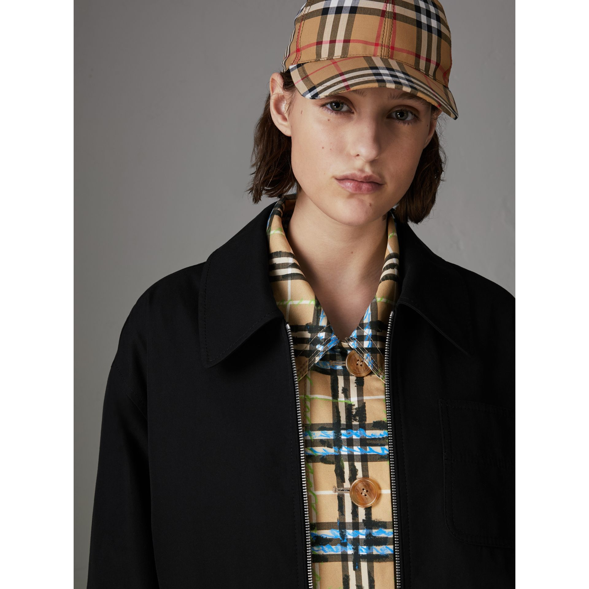 Tropical Gabardine Harrington Jacket in Black - Women | Burberry - gallery image 1