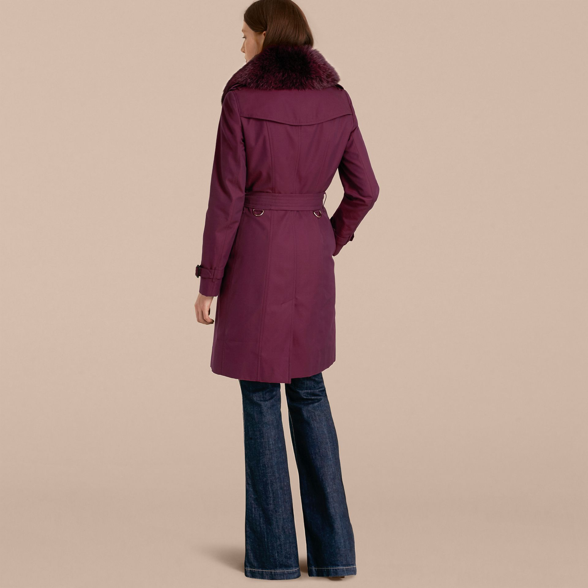 Crimson Cotton Gabardine Trench Coat with Detachable Fur Trim Crimson - gallery image 3