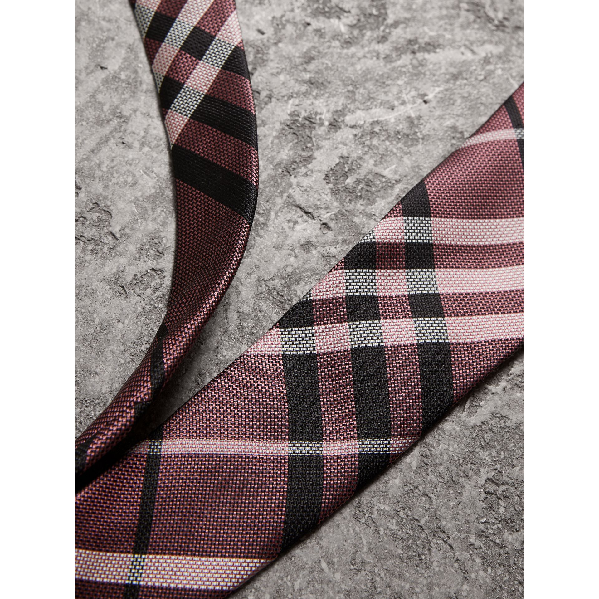 Modern Cut Check Silk Tie in Pink Apricot - Men | Burberry - gallery image 1