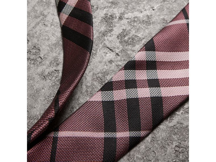 Modern Cut Check Silk Tie in Pink Apricot - Men | Burberry - cell image 1