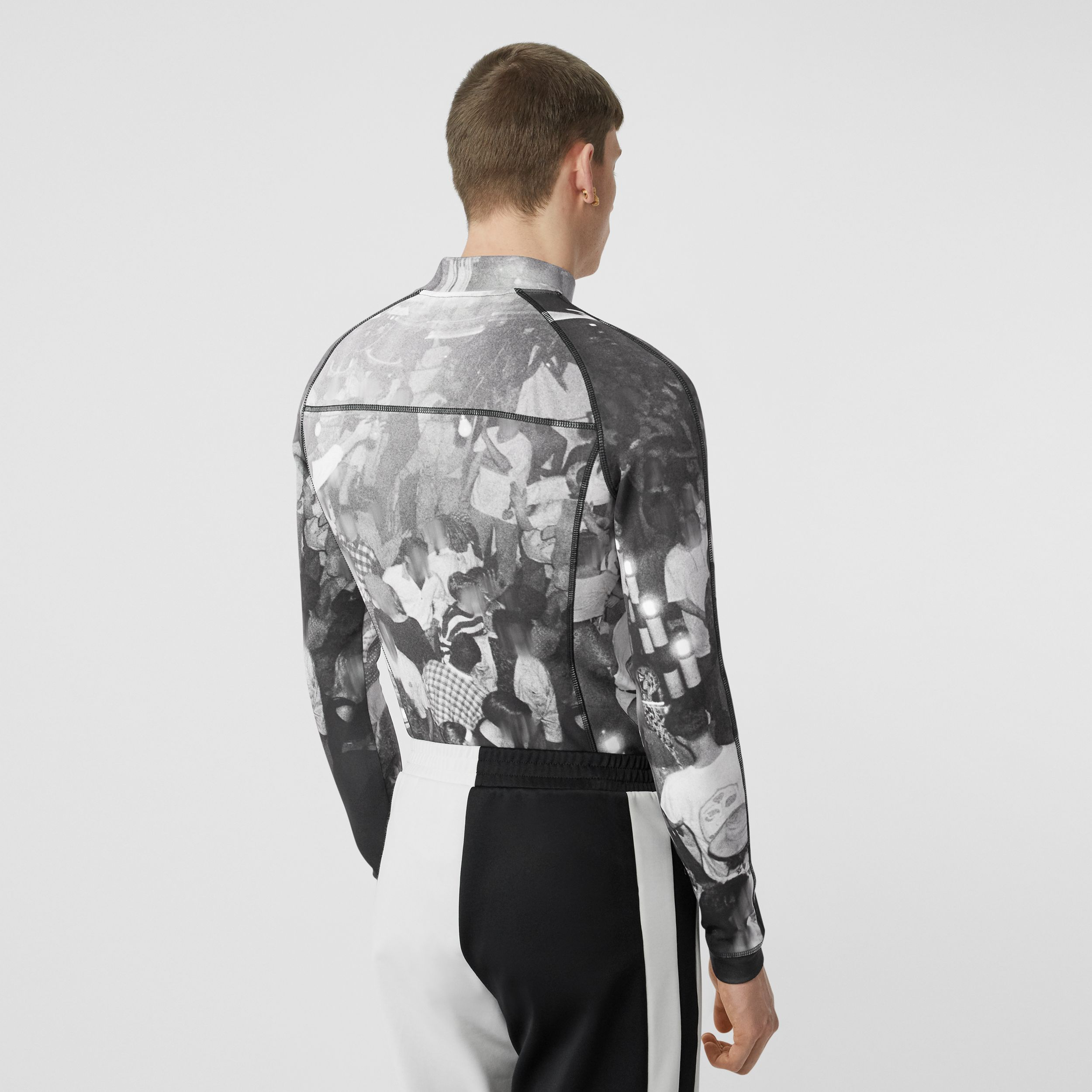 Long-sleeve Rave Print Stretch Jersey Top in Monochrome - Men | Burberry - 3