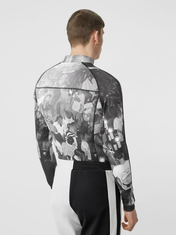 Long-sleeve Rave Print Stretch Jersey Top in Monochrome - Men | Burberry - cell image 2