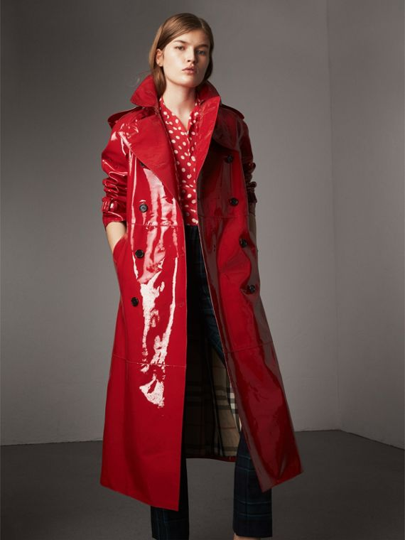 Raglan-sleeve Patent Lambskin Trench Coat in Parade Red