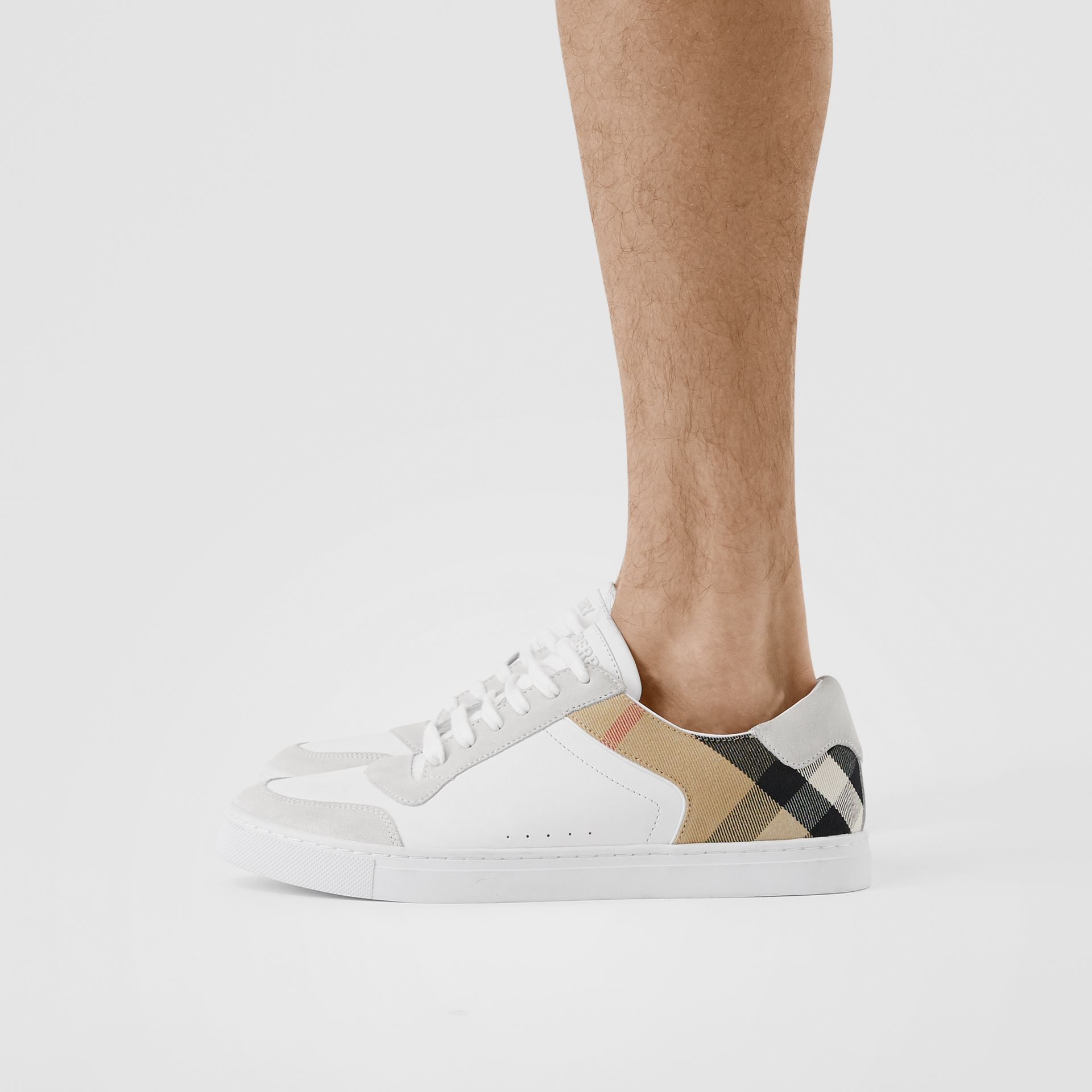 Leather, Suede and House Check Sneakers in Optic White - Men | Burberry United Kingdom - gallery image 2
