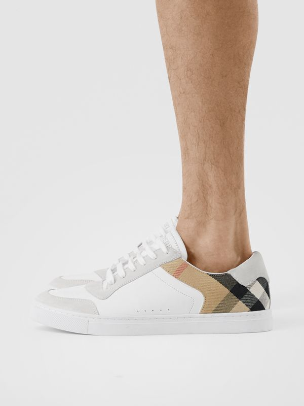 Leather, Suede and House Check Sneakers in Optic White - Men | Burberry United Kingdom - cell image 2