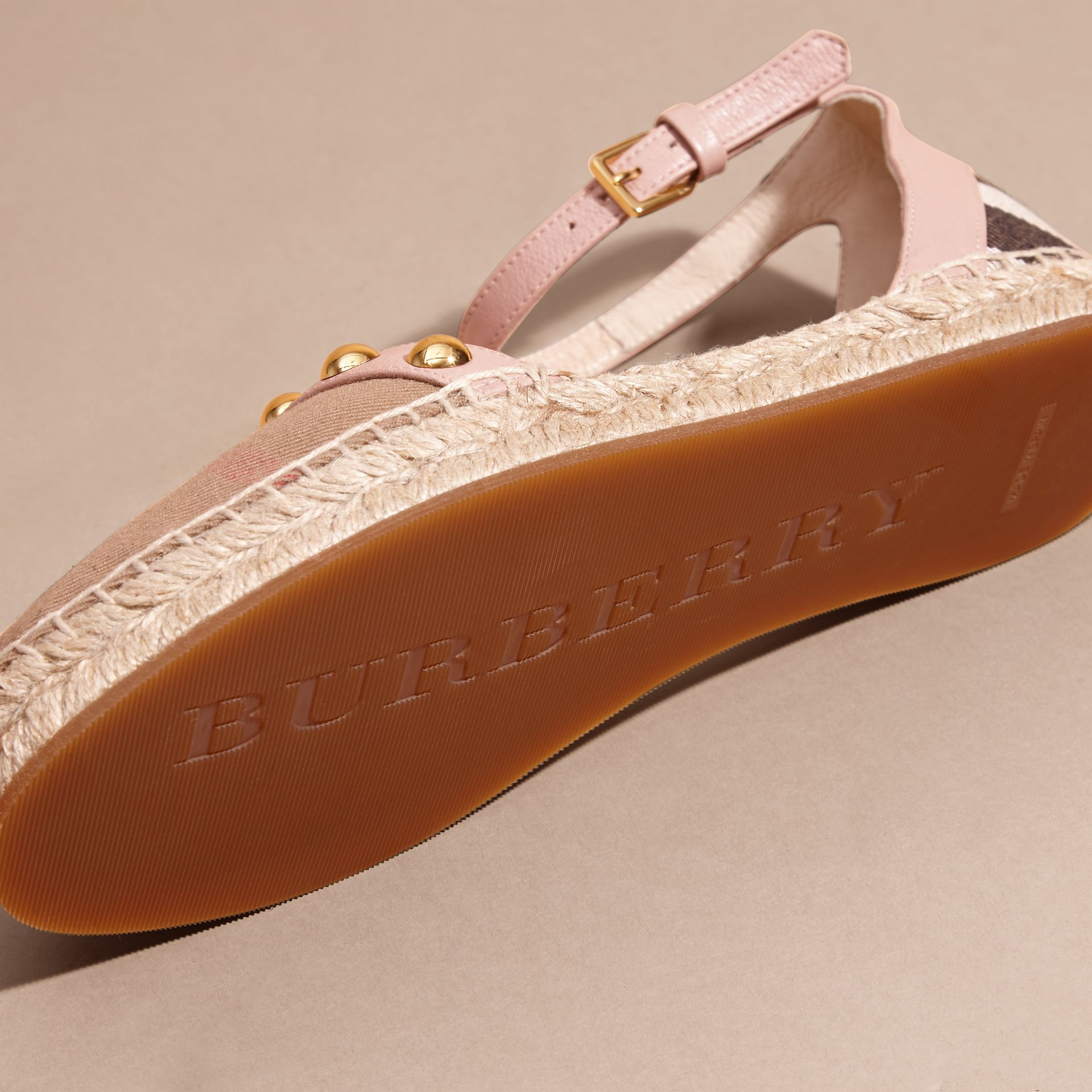 Nude blush Studded Leather and House Check Espadrille Sandals Nude Blush - gallery image 5