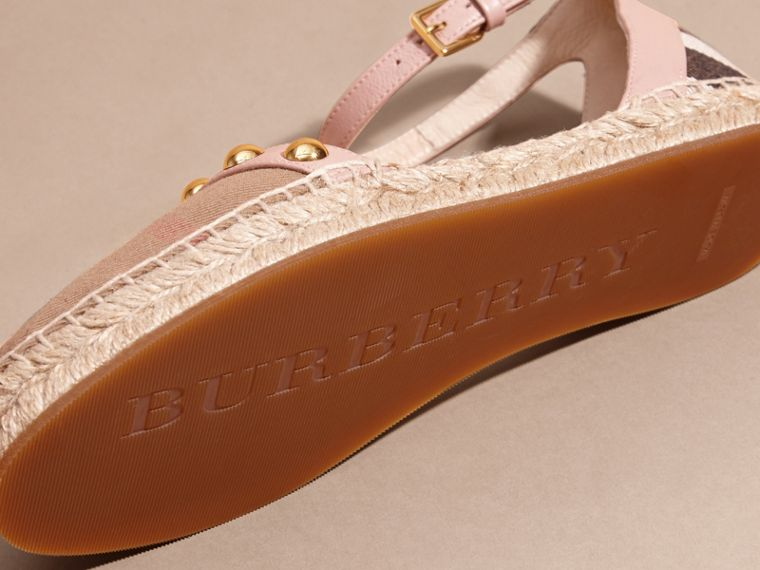 Nude blush Studded Leather and House Check Espadrille Sandals Nude Blush - cell image 4