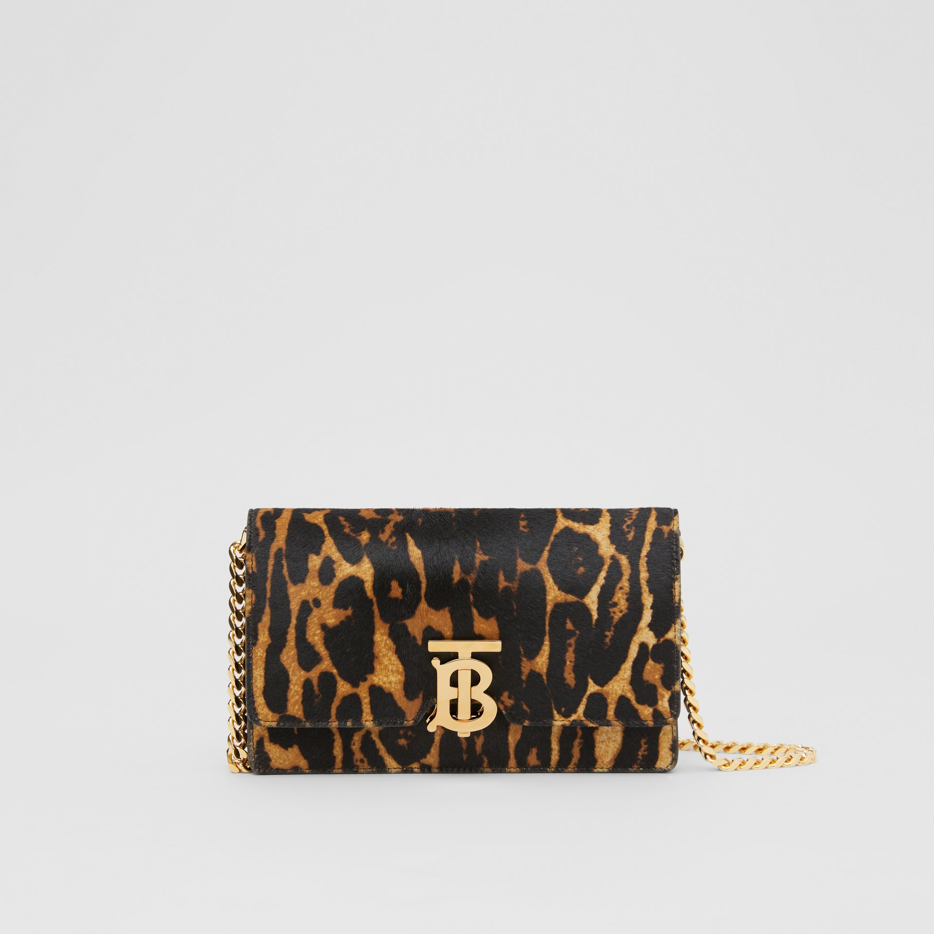 Small Leopard Print Calf Hair Shoulder Bag in Dark Mustard - Women | Burberry United Kingdom - gallery image 0