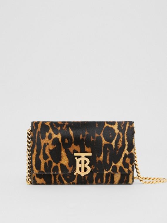 Bolsa de ombro de pelo de novilho com estampa de leopardo - Pequena (Mostarda Escuro)
