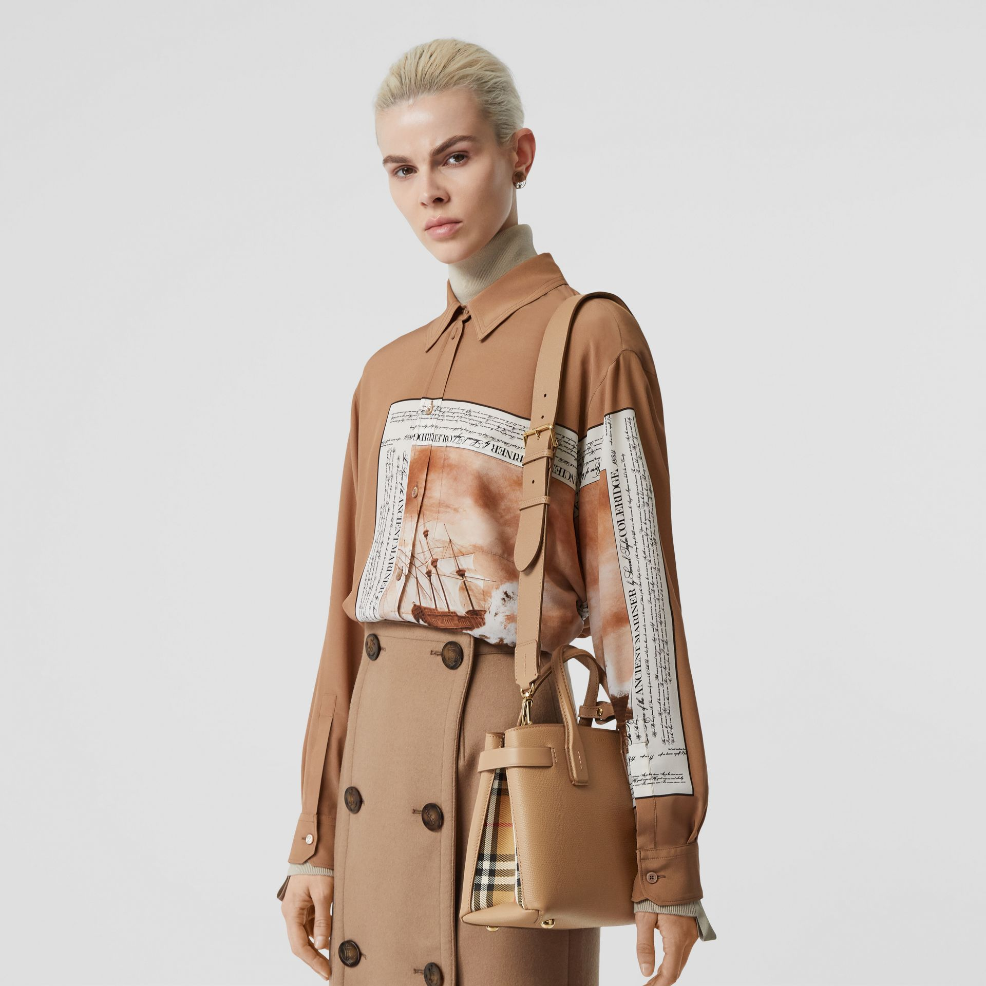 The Small Banner in Leather and Vintage Check in Camel - Women | Burberry United States - gallery image 2