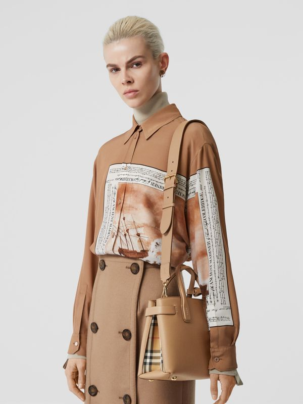 The Small Banner in Leather and Vintage Check in Camel - Women | Burberry United States - cell image 2