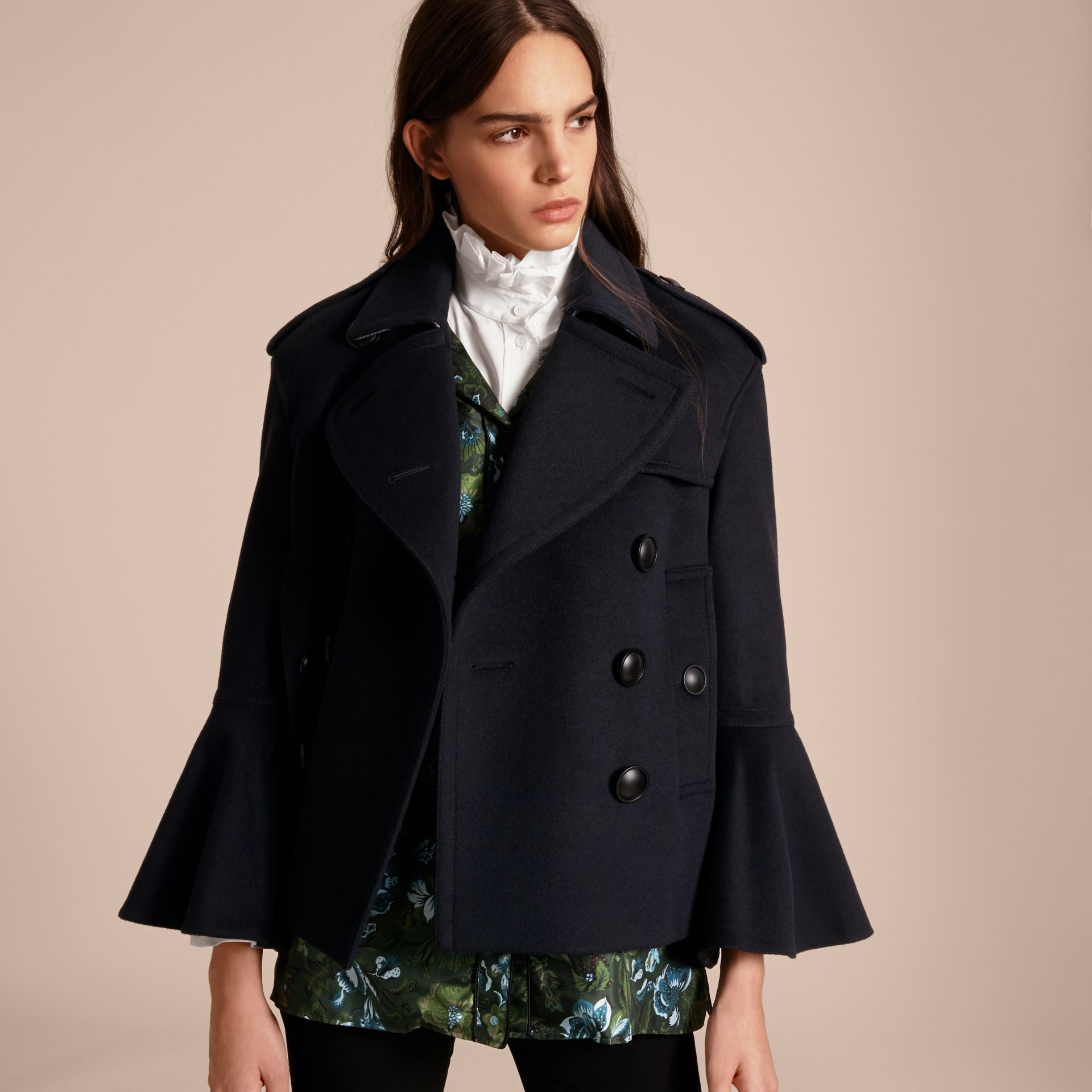 Navy Wool Cashmere Pea Coat with Bell Sleeves - gallery image 6