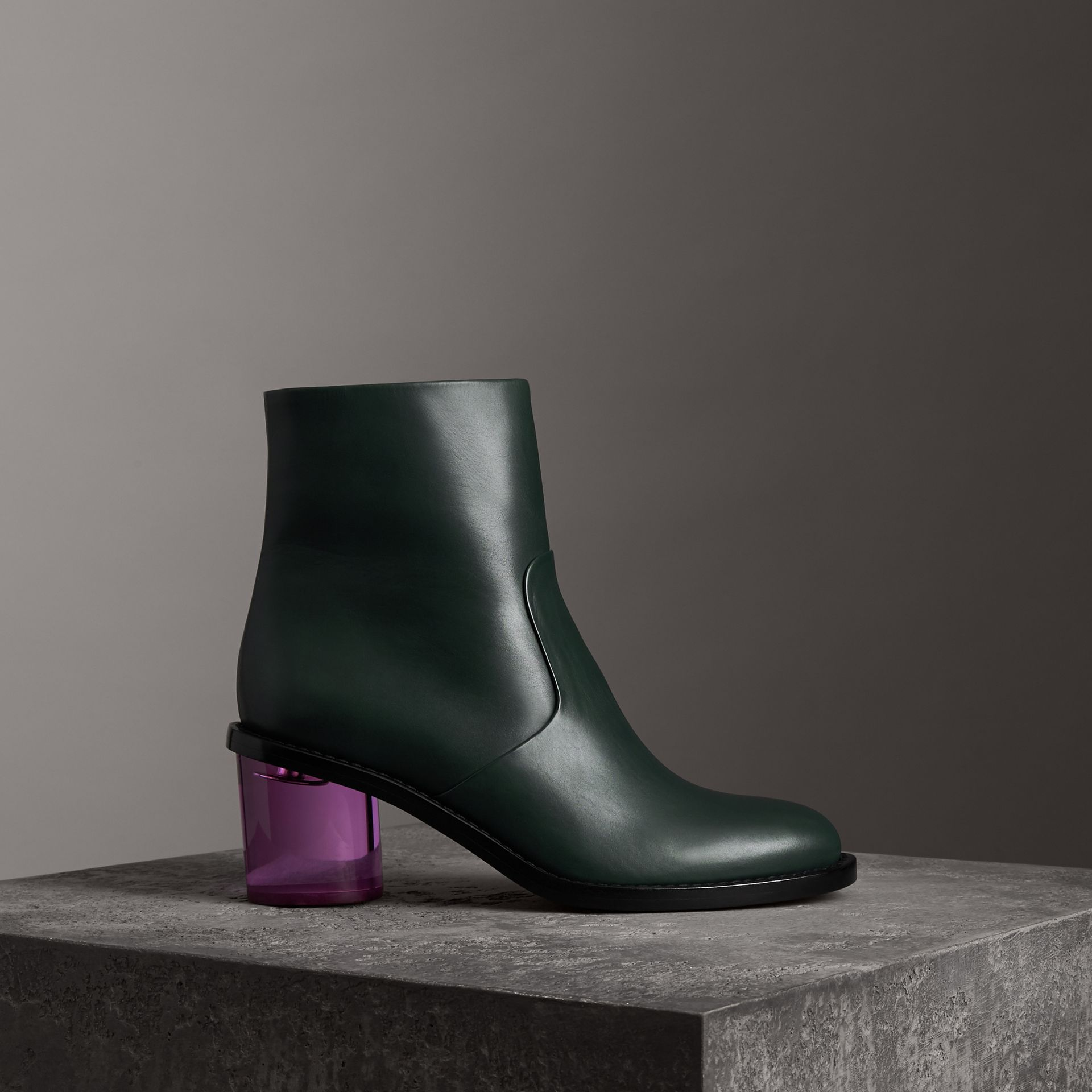 Two-tone Leather Block-heel Boots in Dark Forest Green - Women | Burberry Hong Kong - gallery image 0