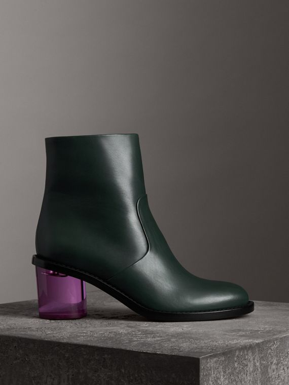 Two-tone Leather Block-heel Boots in Dark Forest Green