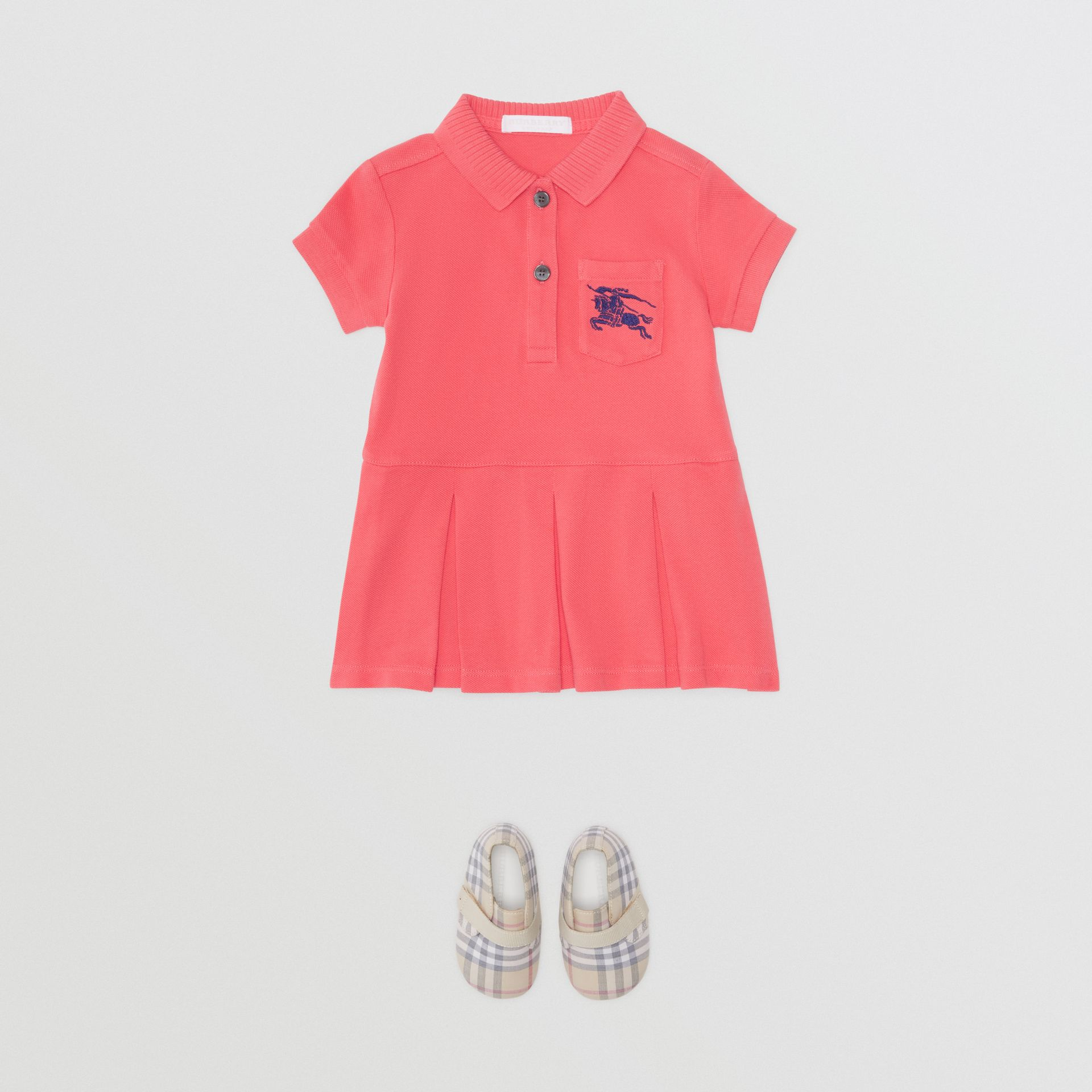 EKD Logo Cotton Polo Dress in Bright Pink - Children | Burberry - gallery image 2