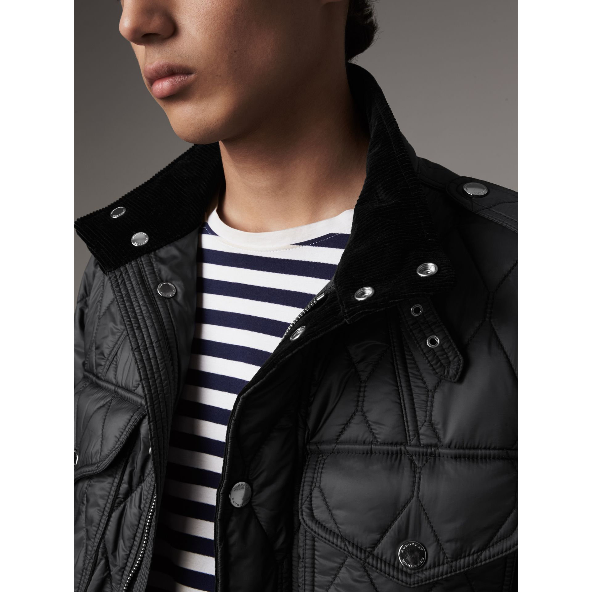 Diamond Quilted Field Jacket in Black - Men | Burberry - gallery image 2