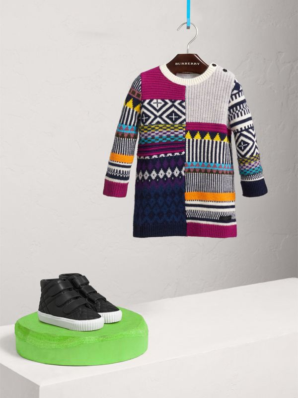 Fair Isle Wool Cashmere Sweater Dress in Bright Pink | Burberry - cell image 2