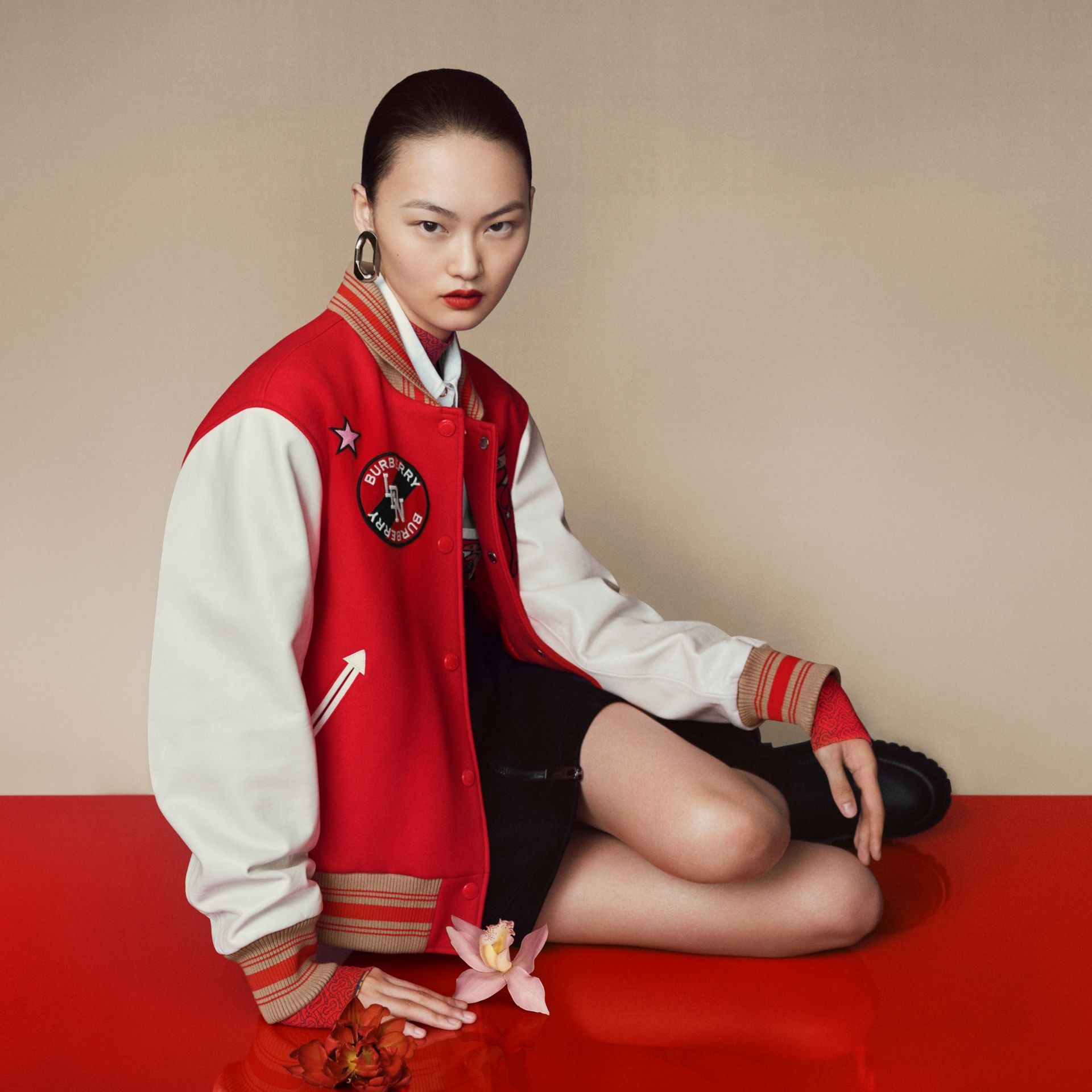 Contrast Sleeve Monogram Motif Wool Bomber Jacket in Bright Red - Women | Burberry - gallery image 6