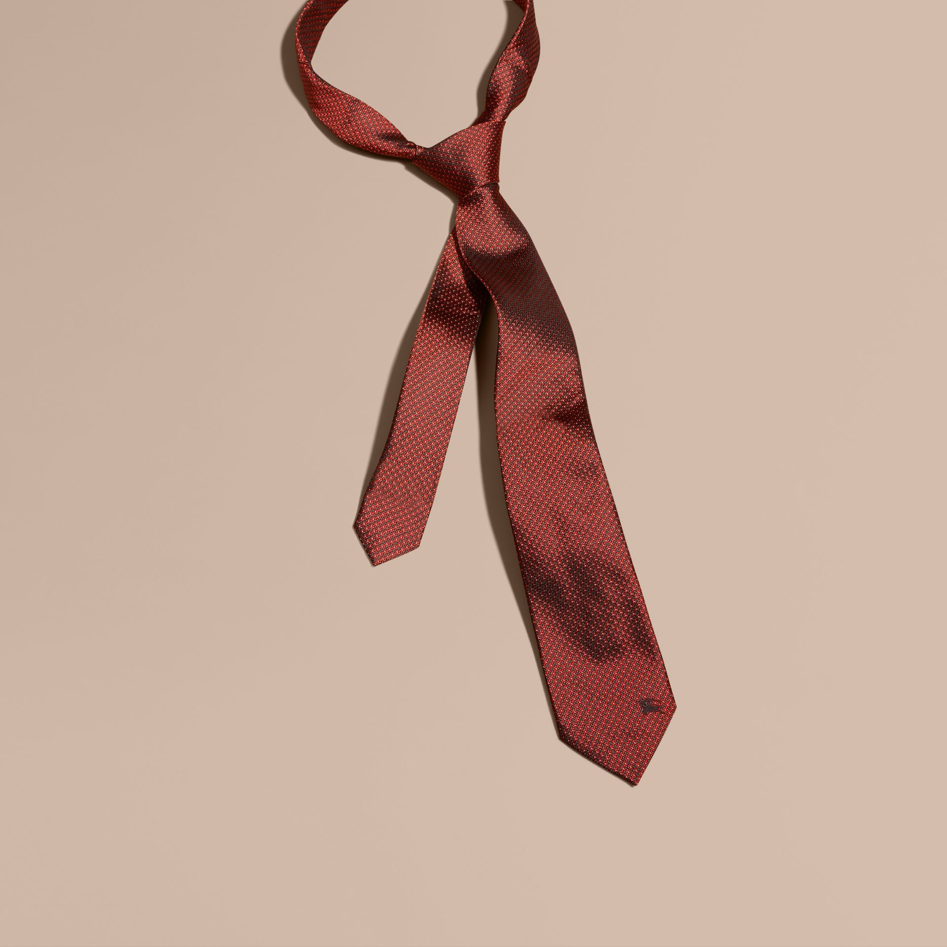 Parade red Modern Cut Patterned Silk Tie Parade Red - gallery image 1