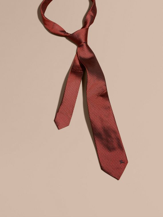 Modern Cut Patterned Silk Tie Parade Red