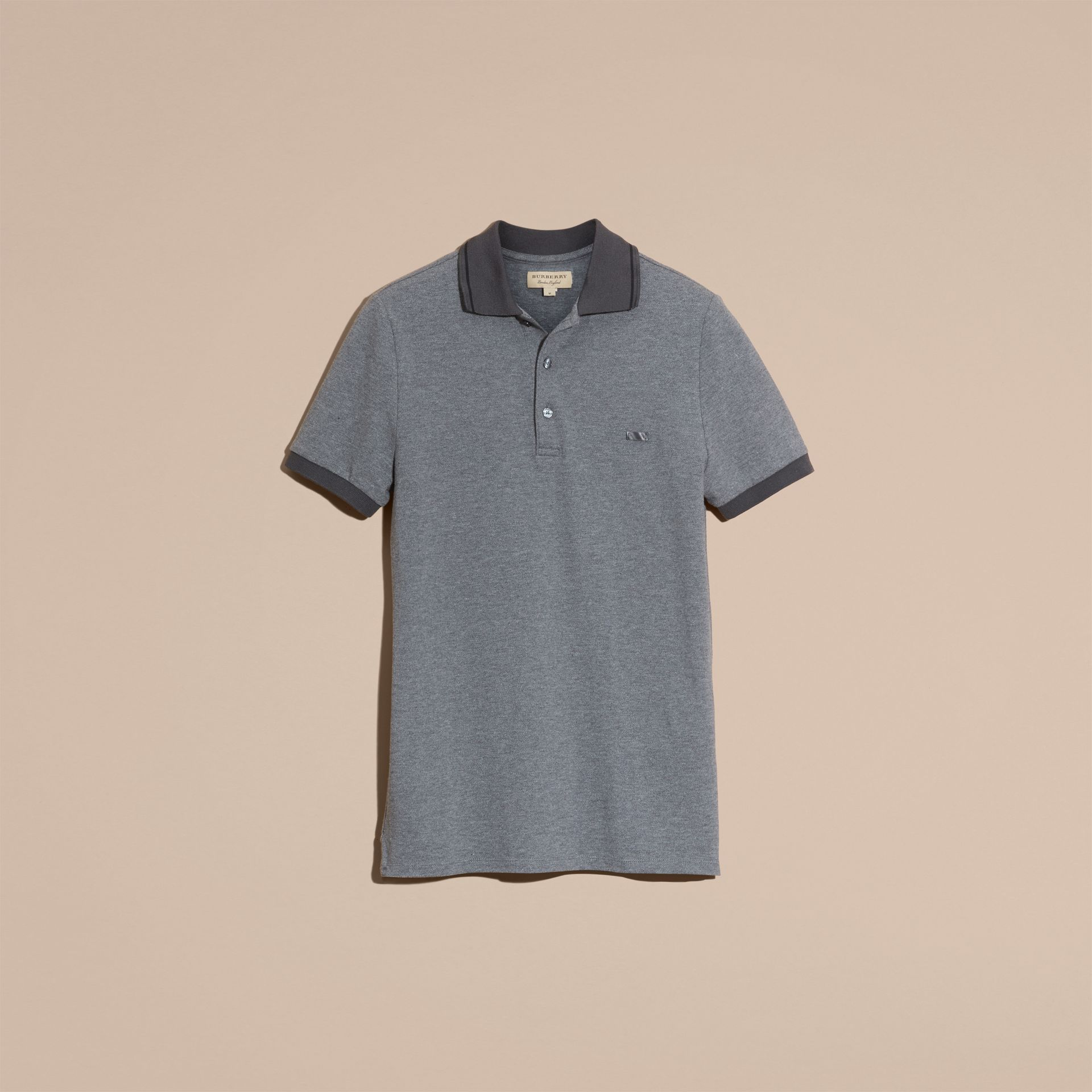 Mid grey melange Contrast Trim Cotton Piqué Polo Shirt Mid Grey Melange - gallery image 4