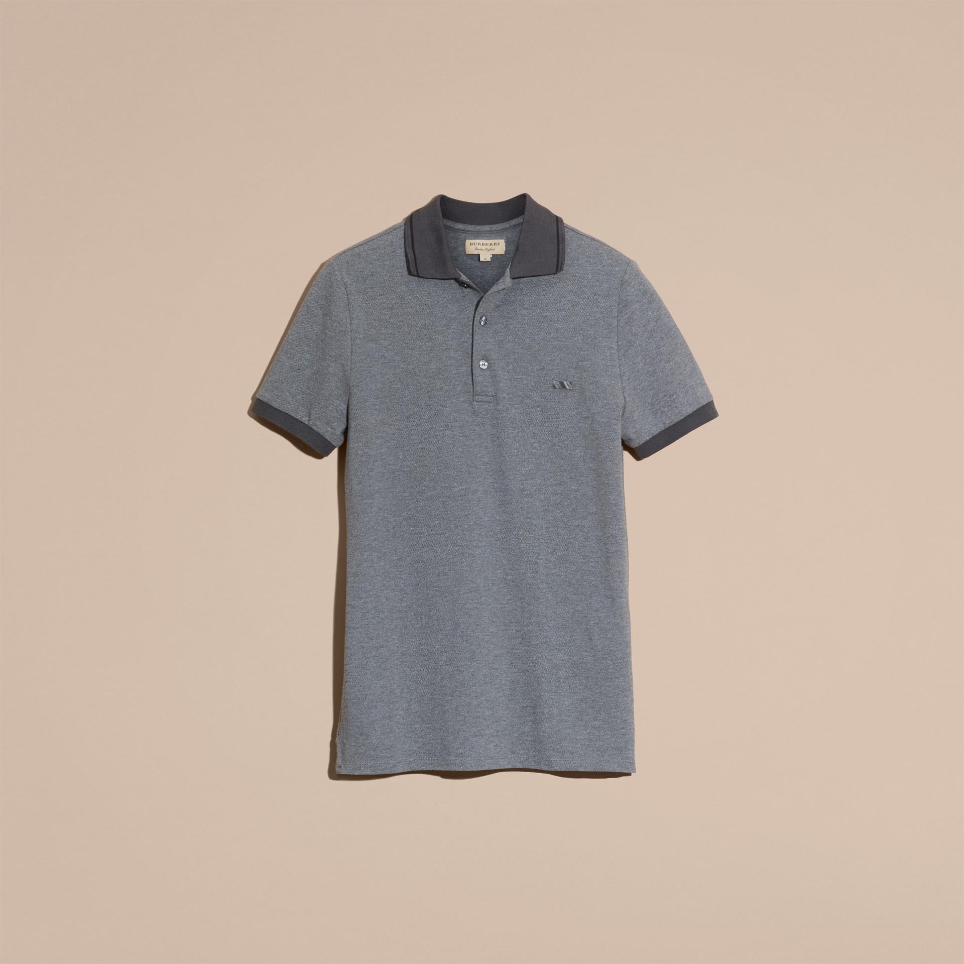 Mid grey melange Camisa polo de algodão piquê com detalhes contrastantes Mid Grey Melange - galeria de imagens 4