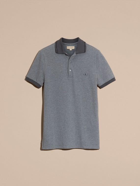 Mid grey melange Camisa polo de algodão piquê com detalhes contrastantes Mid Grey Melange - cell image 3