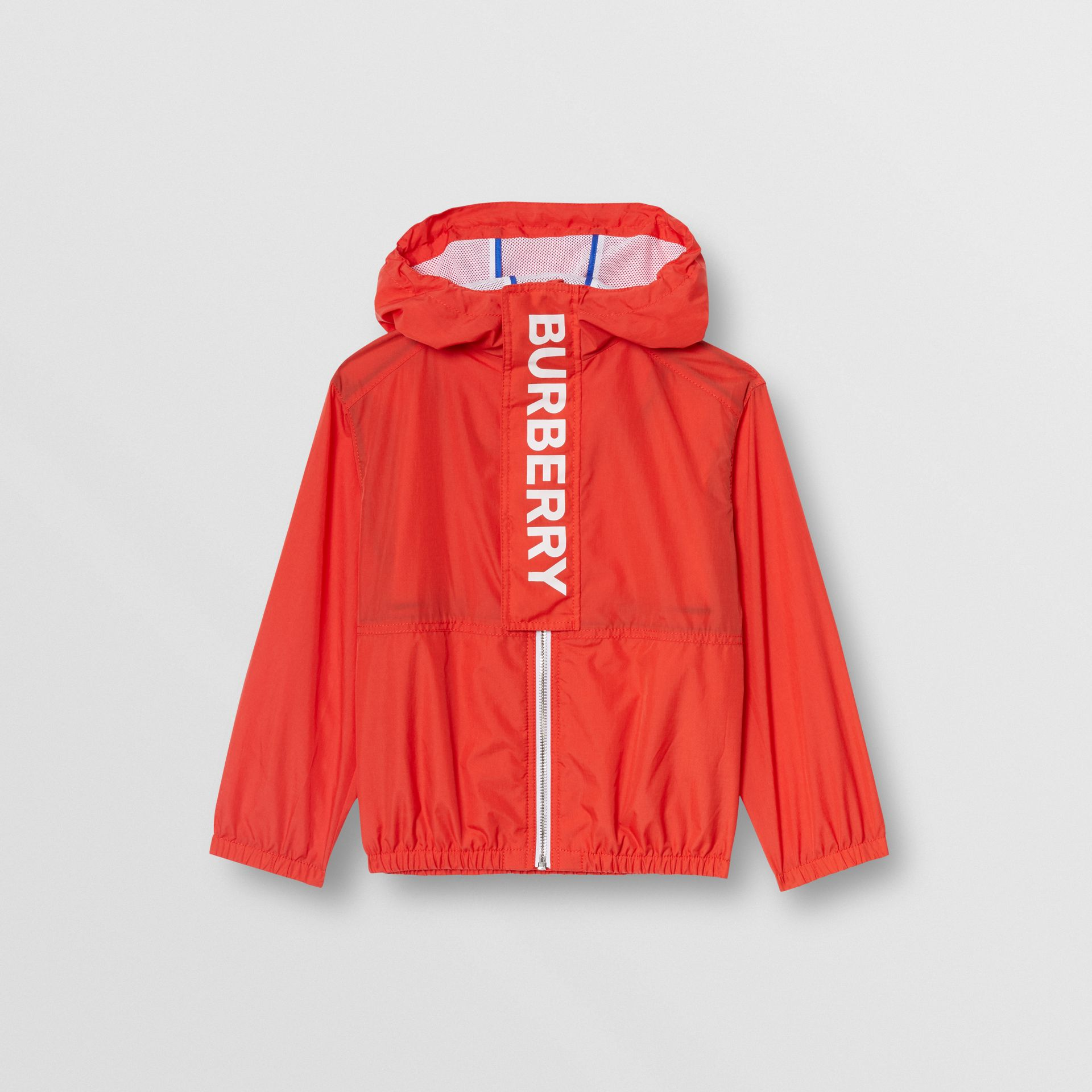 Logo Print Lightweight Hooded Jacket in Orange Red | Burberry Hong Kong - gallery image 0