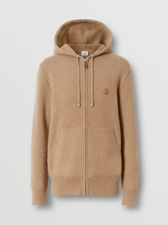 Monogram Motif Cashmere Blend Hooded Top in Pale Coffee