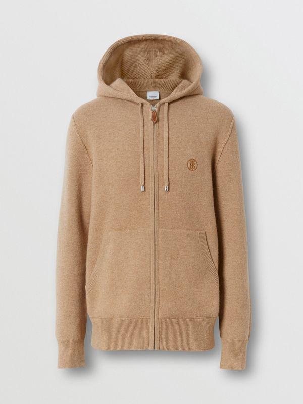 Monogram Motif Cashmere Blend Hooded Top in Pale Coffee - Men | Burberry Hong Kong S.A.R - cell image 3