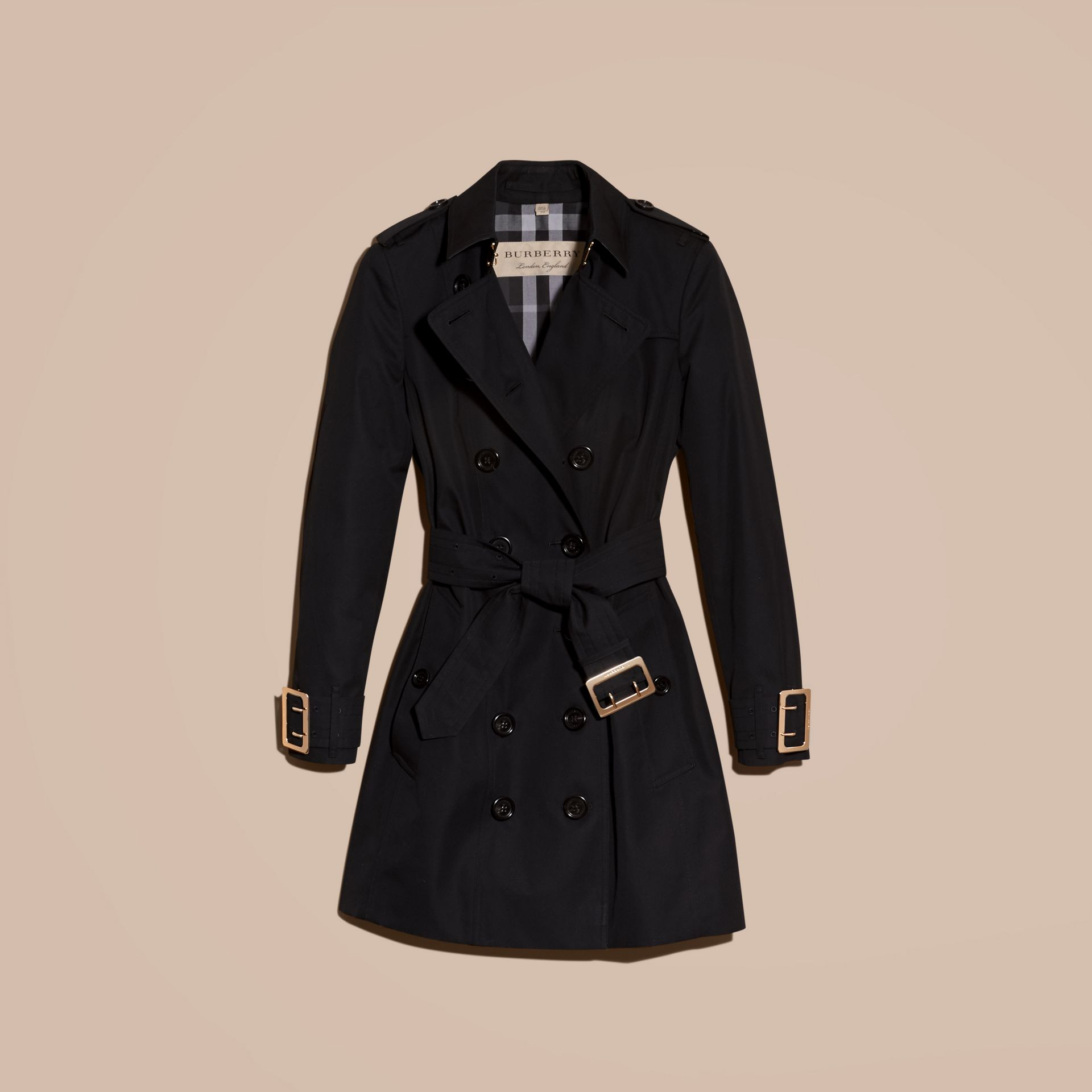 Black Cotton Gabardine Trench Coat with Oversize Buckle Detail Black - gallery image 4