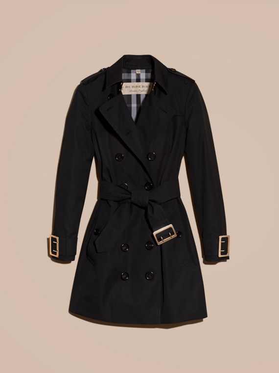 Black Cotton Gabardine Trench Coat with Oversize Buckle Detail Black - cell image 3