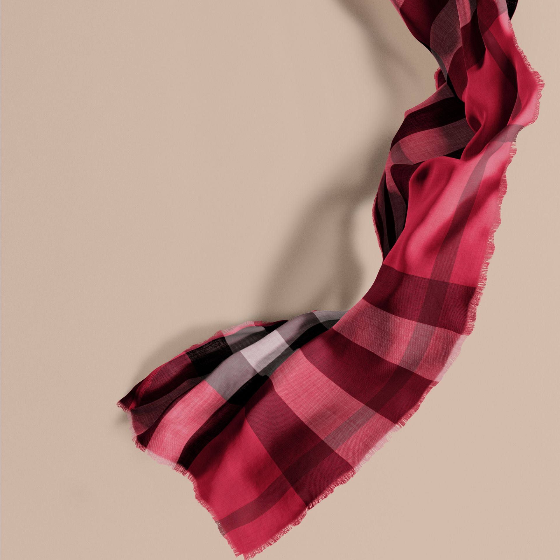 The Lightweight Cashmere Scarf in Check in Fuchsia Pink - gallery image 1