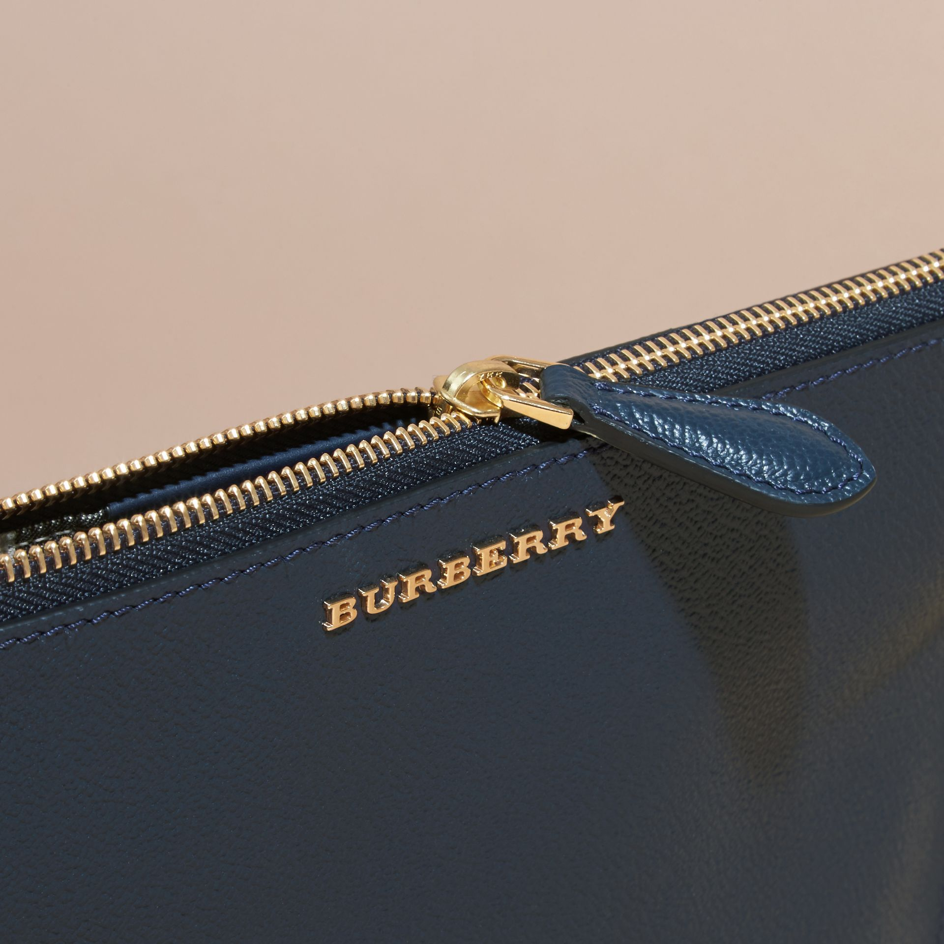 Leather Clutch Bag with Check Lining Blue Carbon - gallery image 2