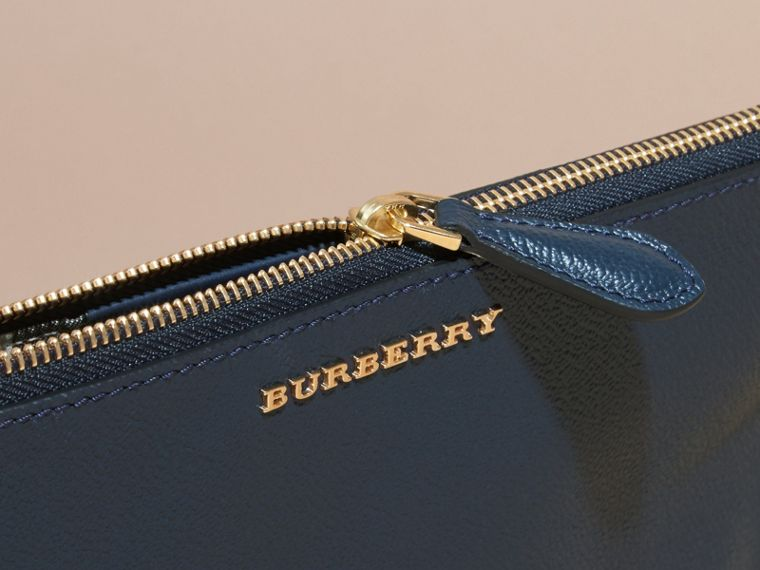 Leather Clutch Bag with Check Lining in Blue Carbon - Women | Burberry - cell image 1