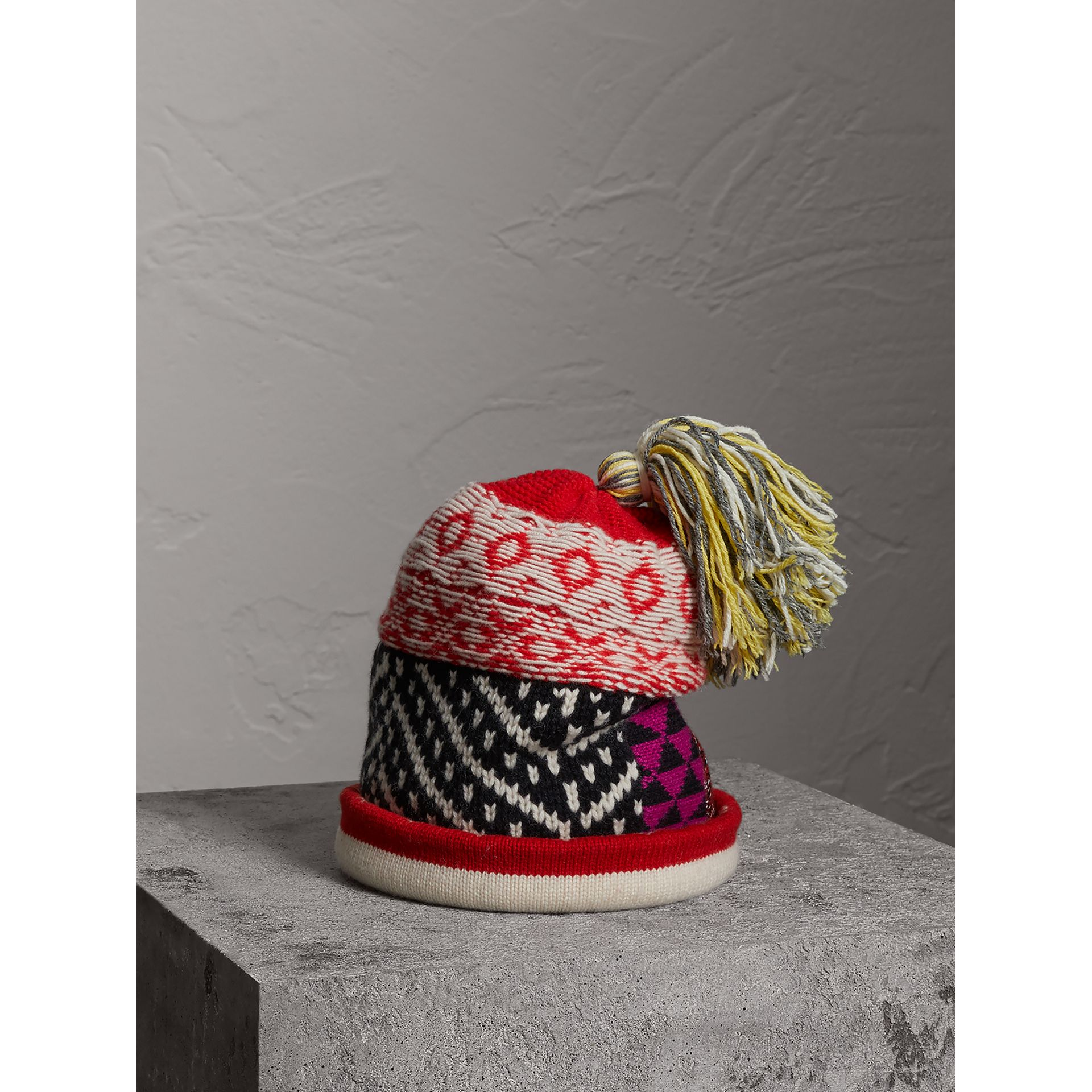 Pom-pom Wool Cashmere Patchwork Beanie in Military Red - Women | Burberry United Kingdom - gallery image 0