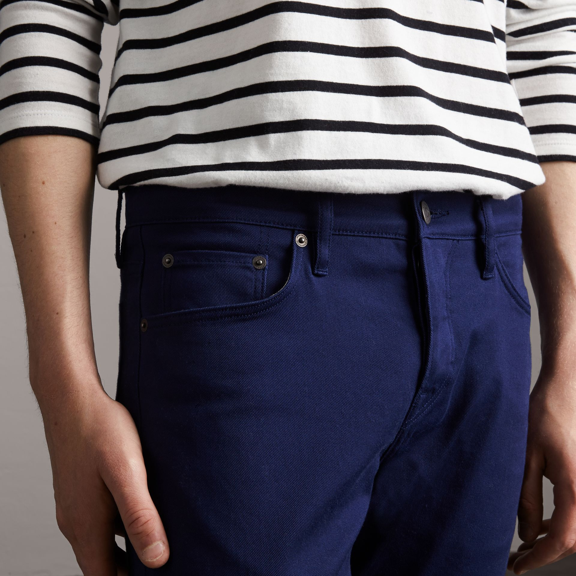 Straight Fit Unwashed Stretch Denim Jeans in Bright Navy Blue - Men | Burberry - gallery image 5