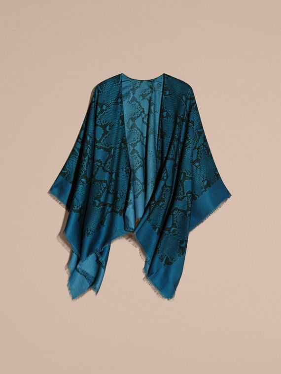 Mineral blue Lightweight Python Print Wool Cashmere Silk Poncho Mineral Blue - cell image 3