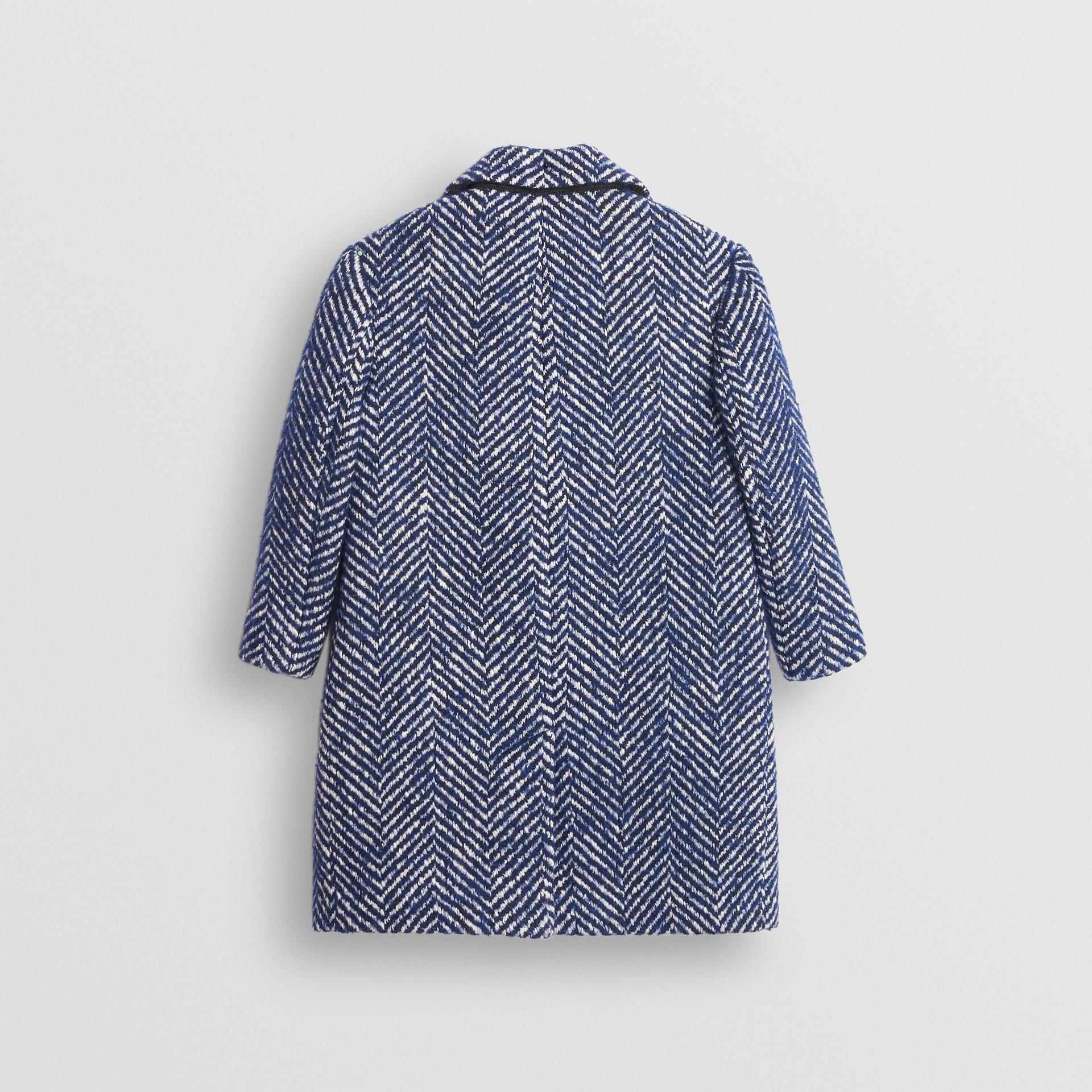 Herringbone Wool Cotton Blend Tailored Coat in Navy - Children | Burberry - gallery image 3