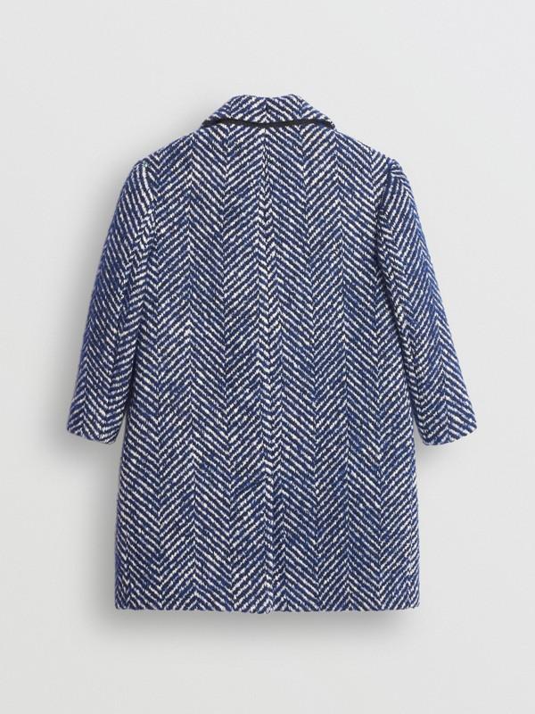 Körperbetonter Mantel aus Wolle und Baumwolle mit Fischgrätmuster (Marineblau) | Burberry - cell image 3