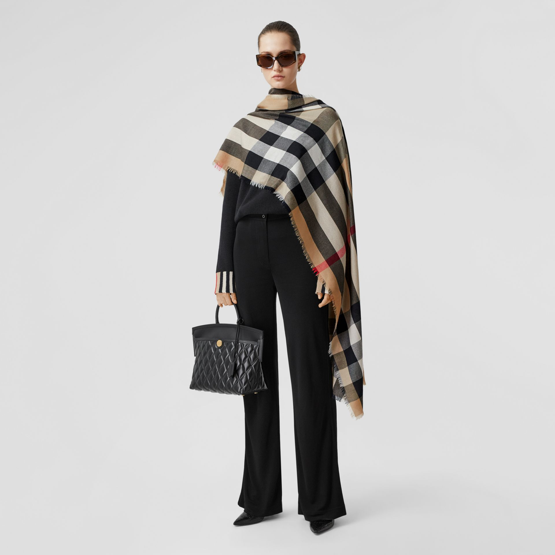 Lightweight Check Cashmere Scarf in Archive Beige | Burberry Hong Kong S.A.R - gallery image 6