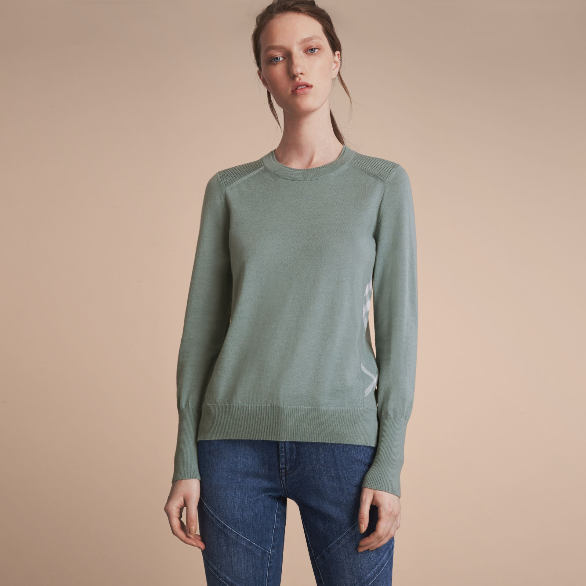 Check Detail Merino Wool Sweater in Pale Eucalyptus - Women | Burberry - gallery image 7