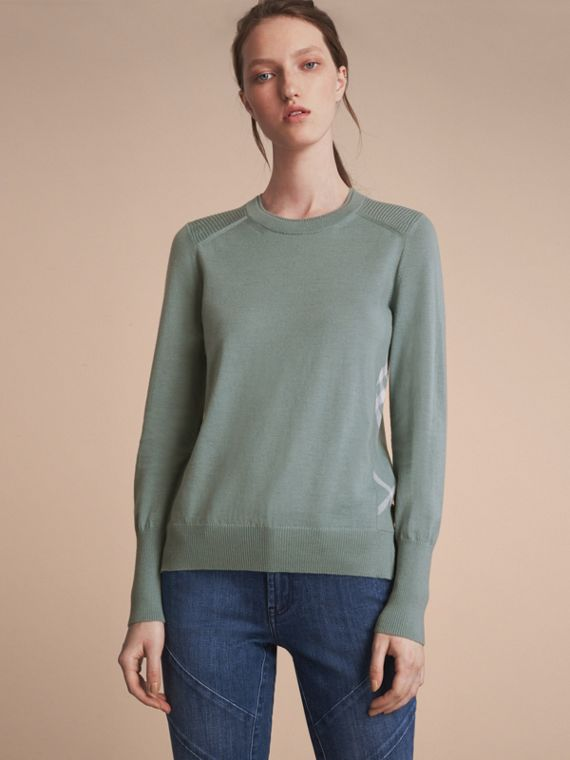 Check Detail Merino Wool Sweater Pale Eucalyptus