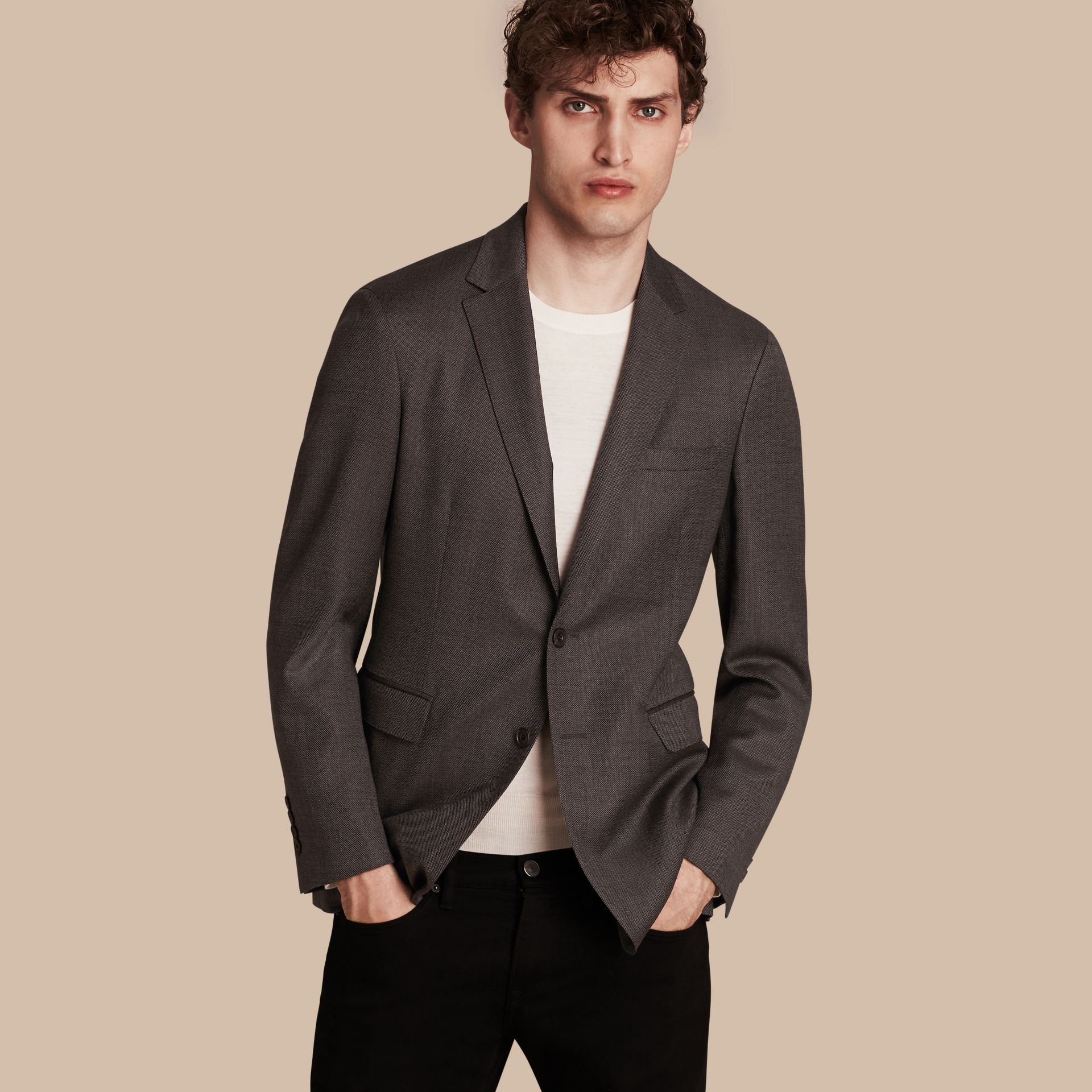 Dark grey Modern Fit Tailored Wool Jacket - gallery image 1
